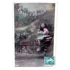 Tinted French Real Photo Postcard, Doll, Pedal Car And Girl, Friendship, Circa 1908