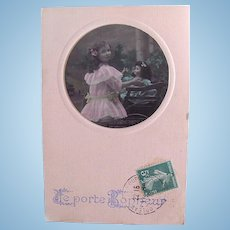 French Real Photo Postcard, Doll, Pedal Car And Girl, Happiness, Hand Tinted, Postmarked 1908