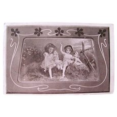 French Real Photo Postcard, Little Girls & Bisque Dolls, Summertime, Circa 1910s