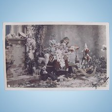 Tinted French Real Photo Postcard, Girl, Dolls and Toys #1, Postmarked 1903