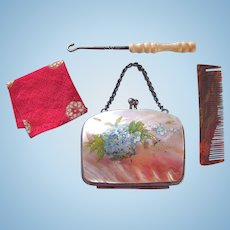 19th Century French Doll Accessories, Group of 3, MOP Purse, Button Hook and Handkerchief plus Comb