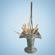 Antique French Wire Flower Basket, Doll-size Basket, Circa 1860s