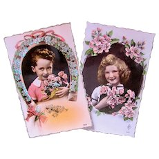 French Girl and Boy, 2 Tinted Real Photo Postcards, Luck and Love, Unused, Circa 1940s
