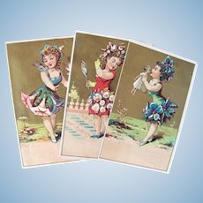 French Chromo Litho Trade Cards, 3 Flower Nymphs, 1 with Doll