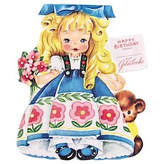 Goldilocks Paper Doll Card, Forget-Me-Not Card, American Greeting, Vintage 1949 Birthday Card