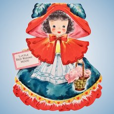 Little Red Riding Hood Paper Doll Card, Land of Make Believe, Hallmark 1947