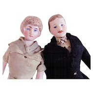 Two German Bisque Dollhouse Dolls, Man and Woman, Edwardian Era, All Original