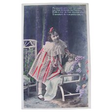 Tinted French Real Photo Postcard, Girl, Doll, Flowers #1, Postmarked 1907