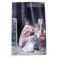 Tinted French Real Photo Postcard, Girl, Doll, Flowers #2, Postmarked 1907