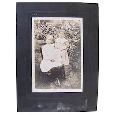 Large Matted Photograph, 2 Sisters and Doll, French, Ca. Early 1900s