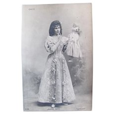 French Real Photo Postcard, Entertainer Jeanne Petit and Doll, Early 1900s