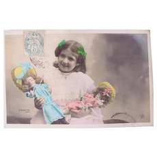 French Tinted Real Photo Postcard, Girl, 2 Dolls, Postmarked 1906