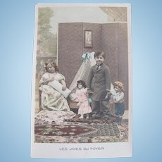 Tinted French Real Photo Postcard, Children and 3 Dolls #1, Circa 1910s