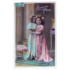 Tinted French Real Photo Postcard, Little Girl, Big Doll, Circa 1910s
