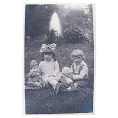 British Real Photo Postcard, Children and Clown Doll, Circa 1920s