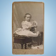 Cabinet Card Photograph, Baby Girl and Doll, French, Ca. 1899