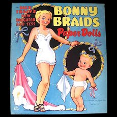 Bonny Braids Paper Dolls, Saalfield, Vintage 1951, Complete and Uncut