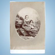 Large Cabinet Card Photograph, Little Girl and Doll, French, Ca. Early 1900s