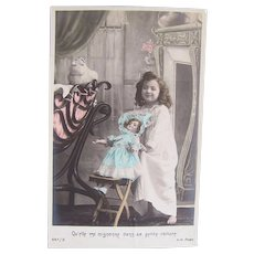 French Tinted Real Photo Postcard, Girl and Doll, Circa Early 1900s