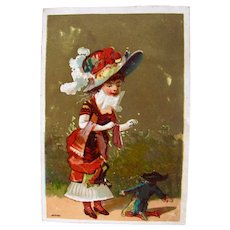 French Chromo-litho Trade Card, Young Lady and Male Doll