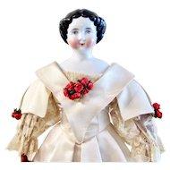 "German China Head Doll, ""Bertha"" w/ Original Undergarments and Custom-Made Ball Gown"