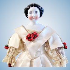"German China Head Doll, ""Bertha"" w/ Original Undergarments and Custom-Made Ball Gown"