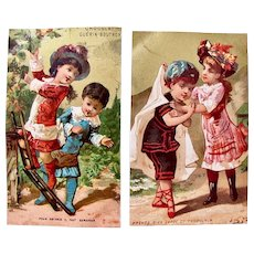 Two French Chromo-Litho Trade Cards, Children At Play