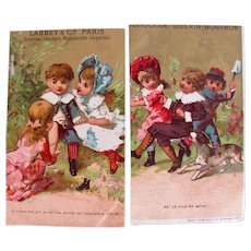 Two French Chromo-Litho Trade Cards, Children Playing