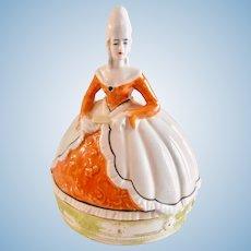 Marie Antoinette Dresser Doll Powder Box Unmarked Porcelain