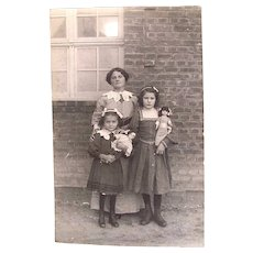British Real Photo Postcard, Mother, Daughters and Dolls, Edwardian Era