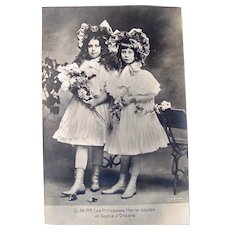 Princesses Marie-Louise and Sophie d'Orleans, French Real Photo Postcard, Circa Early 1900s