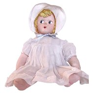 Cloth Stuffed Baby Doll, Mask Face, Yarn Hair, All Original, Vintage 1930s