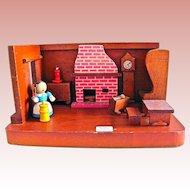 American Primitive Wooden Room Box, Handmade, Circa 1940s