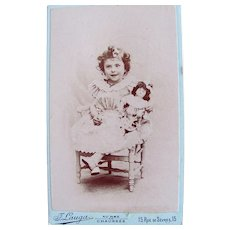 Cabinet Card Photograph, Happy Little Girl and Doll, French, Ca. 1880s