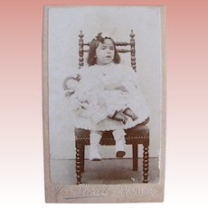 French Cabinet Card Photograph, Little Girl and Bisque Head Doll