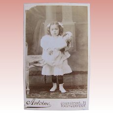 Belgian Cabinet Card Photograph, Sweet Girl and Bisque Head Doll, Circa 1890s