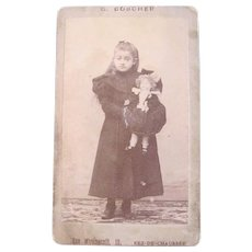 Petite French Cabinet Card Photograph, Girl and Doll, Circa 1880s