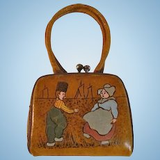 Antique Leather Doll Purse with Tinted Dancing Dolls on Front, Circa 1890s