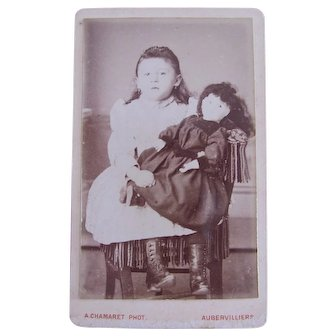French Cabinet Card Photograph, Dark Haired Girl and Bisque Head Doll, Circa 1890s