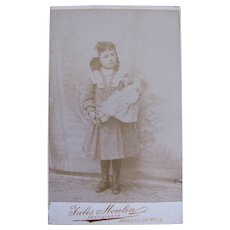 Petite Belgian Cabinet Card Photograph, Ghostly Girl and Her Doll, Circa 1890s