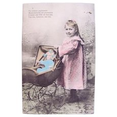 French Tinted Real Photo Postcard, Girl, Doll and Pram, Circa 1910s