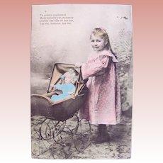 French Tinted Real Photo Postcard, Girl, Doll and Pram, Circa 1910s