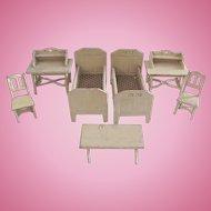 German Dollhouse Furniture, Cream Painted Bedroom Set, Gottschalk, Circa 1910