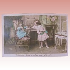 Tinted French Real Photo Postcard, Bébé Doll and Girl, Postmarked 1908