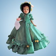 Composition Doll Dressed As Scarlett O'Hara, 15-inch, Unmarked, Vintage 1940s