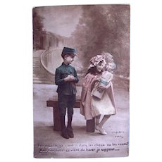 French Tinted Real Photo Postcard, Children and Baby Doll, Circa 1910s