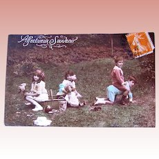 Tinted French Real Photo Postcard, Children, Doll, Picnic, Circa 1910s