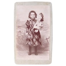 French Cabinet Card Photograph, Girl in Plaid Dress Holding Doll, Circa 1890s