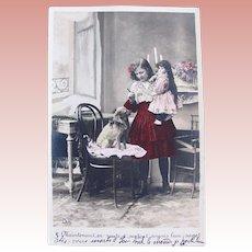 French Tinted Real Photo Postcard, Girl, Doll and Dog, 1904 Postmark
