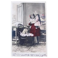 French Tinted Real Photo Postcard, Girl, Doll and Dog, 1904 Postmark